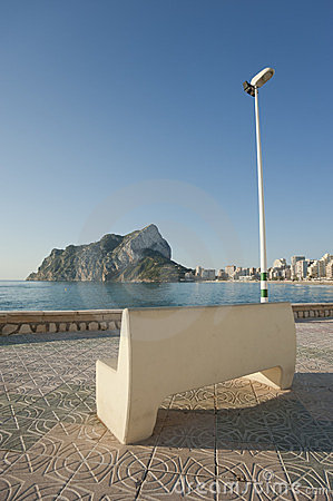 Bench on Calpe beach