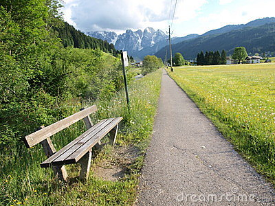 Bench on the country road