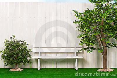 Bench by the fence with a tree and shrubs