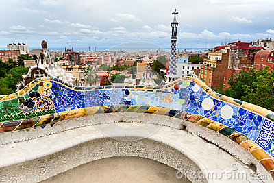 The bench by Gaudi in Parc Guell. Barcelona.