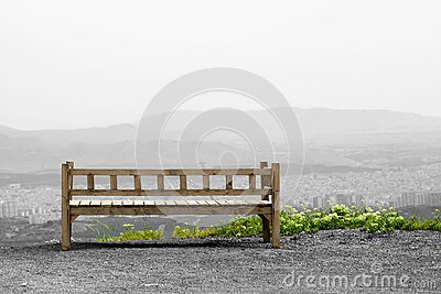 Bench on hill