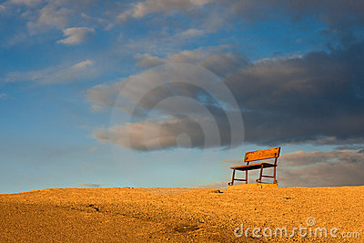 Bench on a Hill at Sunrise