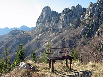 Bench isolated on the top of a mountain