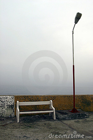 Bench and Lamp Pole
