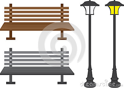 Bench and light posts