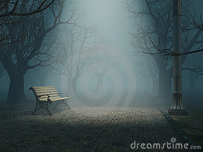 Bench in misty park