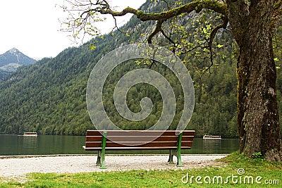 Bench in near lake shore at Königsee Bavaria