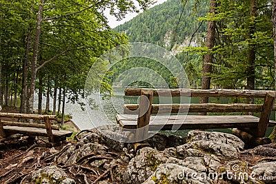 Bench near the lake, toplitzsee, austria