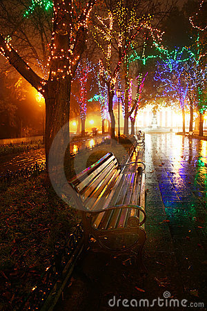 Bench in night alley with lights