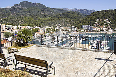 Bench overlooking the city, Majorca