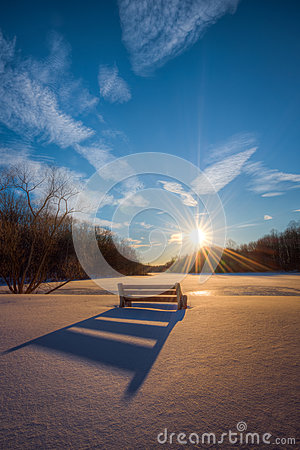 Free Bench Shadow In Fresh Snow Royalty Free Stock Photo - 89398895