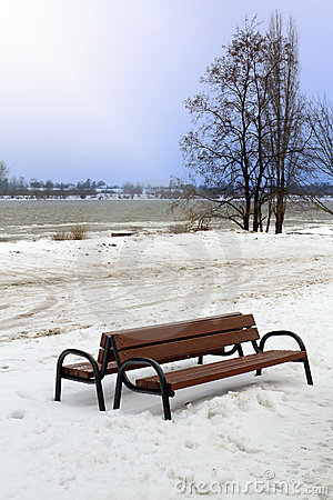 Bench in snowy winter scenery