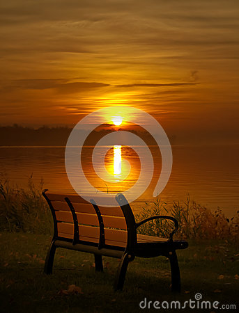 Bench and sunset