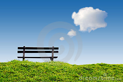Bench with text balloon clouds