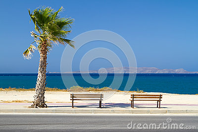 Benches at Aegean sea