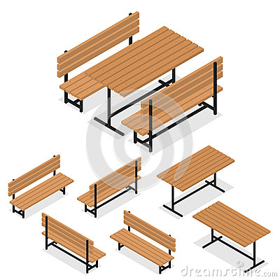 Free Benches And A Table. Flat Isometric. A Place For Rest Stock Photography - 71216432