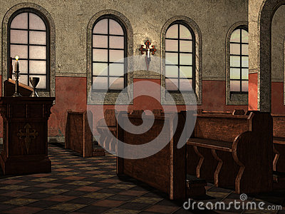 Benches in medieval church