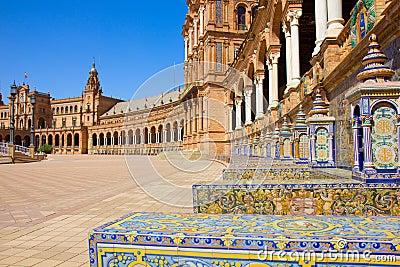 Benches of  Plaza de Espa?a, Seville, Spain