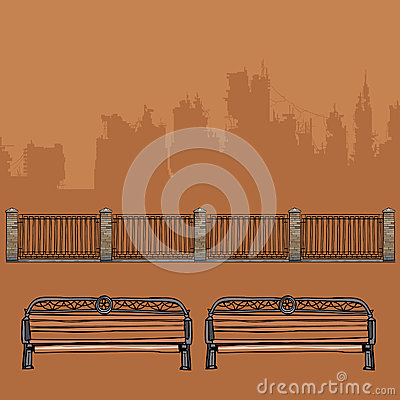 Free Benches With Wrought-iron Decorations And Wrought-iron Fence With Brick Pillars Stock Photography - 93088532