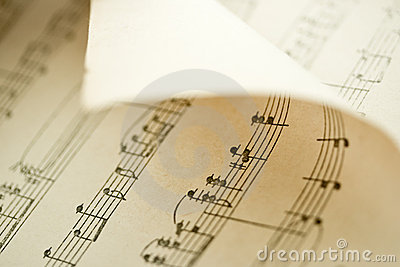 Bended music sheet