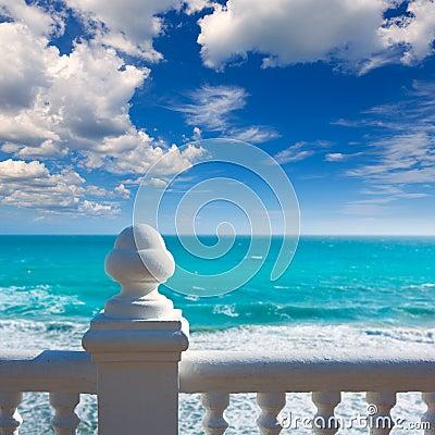 Free Benidorm Balcon Del Mediterraneo Sea From White Balustrade Stock Images - 37204134