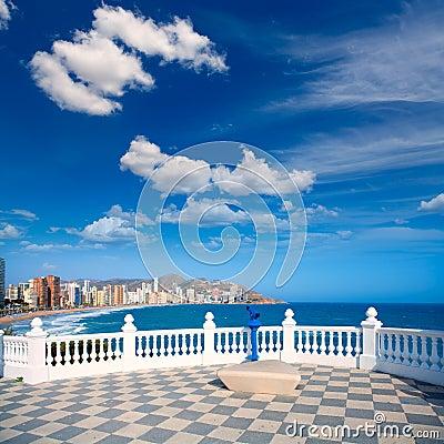 Free Benidorm Balcon Del Mediterraneo Sea From White Balustrade Royalty Free Stock Image - 37204326