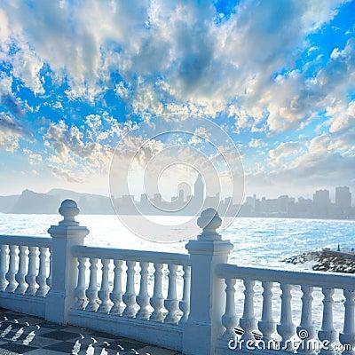 Free Benidorm Balcon Del Mediterraneo Sea From White Balustrade Stock Images - 37204624