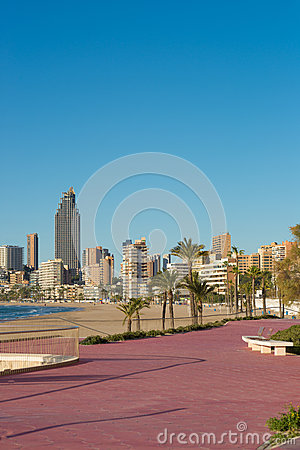 Benidorm beach resort in summer