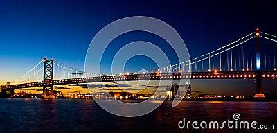 Benjamin Franklin Bridge bij Zonsondergang