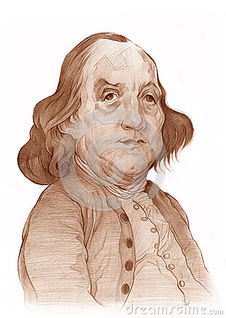 Benjamin Franklin Caricature Sketch Editorial Image