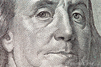 Benjamin Franklin macro from $100 dollar bill