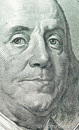 Benjamin Franklin portrait from 100 dollars bank