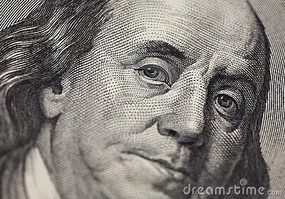 Benjamin Franklin portrait from 100 dollars bankno