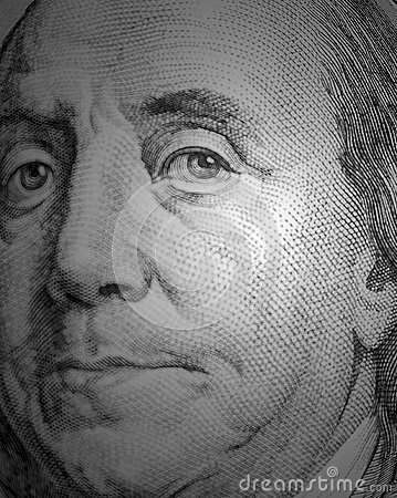 Free Benjamin Franklin Portrait From A $100 Bill Royalty Free Stock Images - 56107269