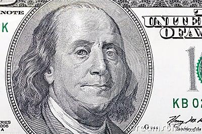 Benjamin Franklin portrait on hundred dollars