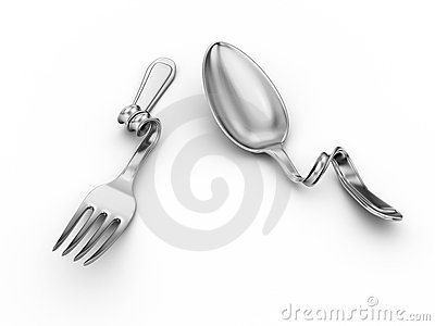 Bent spoon, fork, breakage kitchenware