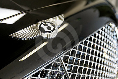 Bentley logo is displayed on a continental gtc car in a new bentley
