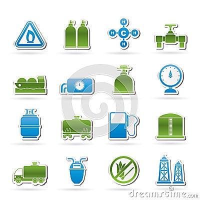 Benzynowych ikon naturalni przedmioty