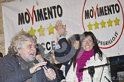 Beppe grillo,five stars movement Editorial Stock Photo