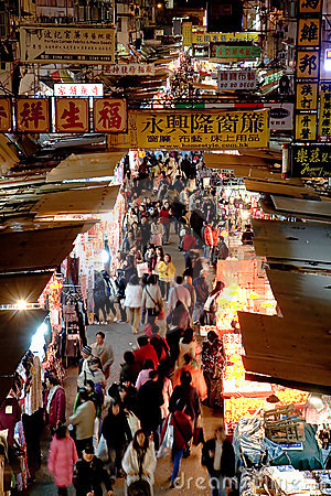 Berömd gata för mong för marknad för hong kokkong Redaktionell Arkivfoto
