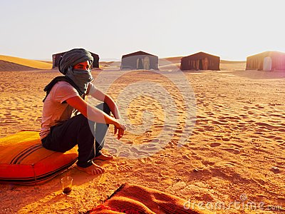 Berber Man on Zagora Desert in Morocco Editorial Photography