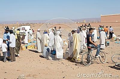 Berber men at the dates fruit market Editorial Photography