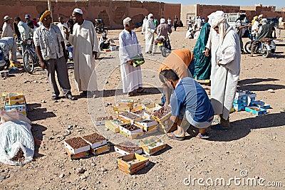 Berber men at the dates fruit market Editorial Stock Photo