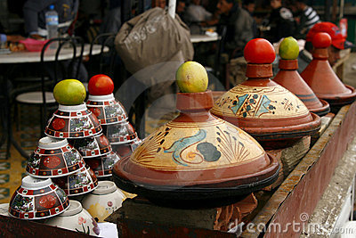Berber tajines cooking on the market, Morocco