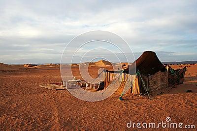 Berber tent in Moroccan Sahara desert