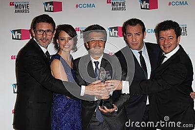 Berenice Bejo, Jean Dujardin, Michel Hazanavicius, Ludovic Bource, Thomas Langmann Editorial Stock Photo