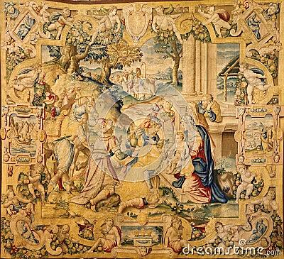 Bergamo - Gobelin of Adoration of the magi in church Santa Maria Maggiore