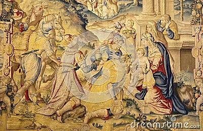 Bergamo - Gobelin ot Three the magi - Santa Maria Maggiore