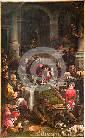 Free Bergamo - Paint Of Last Supper Of Christ From 16. Cent. Royalty Free Stock Photos - 31529098