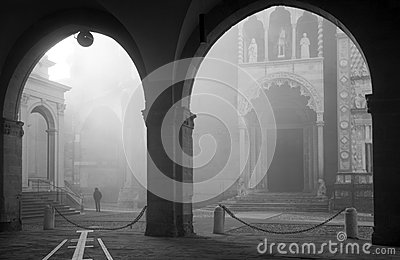 Bergamo - fog between Duomo and cathedral